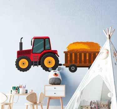 Ilustrativní samolepka na traktor, která zdobí místnost mladého dítěte, zejména pro chlapce. Konstrukce je tahání tahače za vozík se seno.