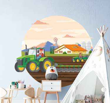 Colorful agriculture circle toy sticker. Beautiful landscape design with kids driving heavy duty agricultural tractors. Available in any size needed.