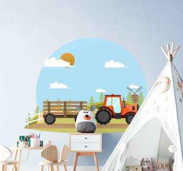 Toy tractor sticker for kid's room.  Your boy kid would love this illustration sticker of a tractor with tree landscape and cloud gathered in the sky.