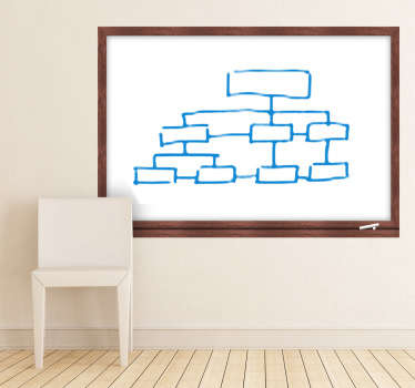 A whiteboard wall sticker with a wooden frame design made for the walls in your home or office. Great whiteboard decal to practice your drawing skills