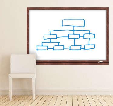 Sticker ardoise blanche cadre bois