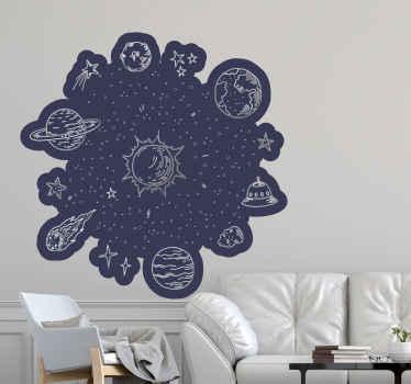 Sistema solare schizza adesivi per viaggi nello spazio. Il design è adatto a qualsiasi parte della casa ed è di facile applicazione. Facile da applicare e adesivo.