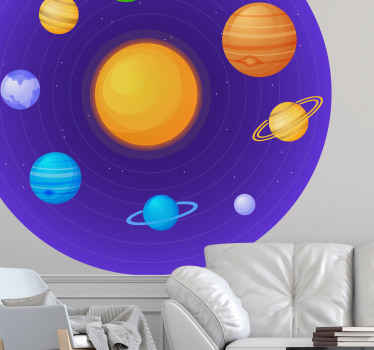 Giant space illustration sticker design depicting colorful planets in the solar system. Suitable to decorate a living room and other space of choice.