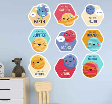 Solar system cartoon pack space wall sticker. Colorful design for children bedroom illustrating the nine planets in the solar system with their names.