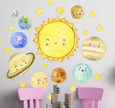 Adesivo spazio decorazione camera da letto solare per bambini. Un disegno che illustra i nove diversi pianeti e il sole con volti sorridenti.