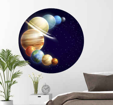 Curved solar system travel decal design to decorate any space of your choice. It is easy to apply and made with top quality vinyl.