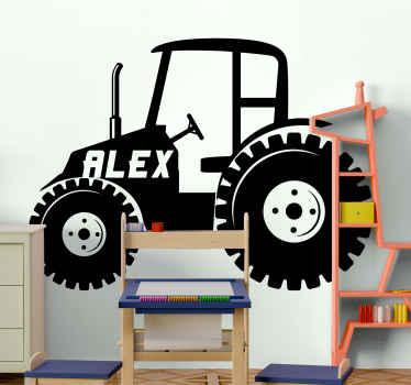 Vinilo para niños de tractor personalizable con el nombre de su hijo es la opción ideal para decorar la habitación de su hijo