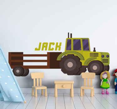 Original vinilo para niños con tractor verde y con remolque para que decores el cuarto de tu hijo de forma original ¡Envío exprés!