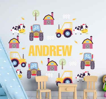 Décorez la chambre de votre enfant avec un cadre intéressant dans ce joli autocollant coloré de tracteur jouet différent. Personnalisable avec n'importe quel nom exigent.