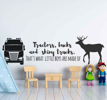 Tractors, bucks and shiny trucks toy sticker for children room. The colour is customizable and it is easy to apply. Manufactured with quality vinyl.