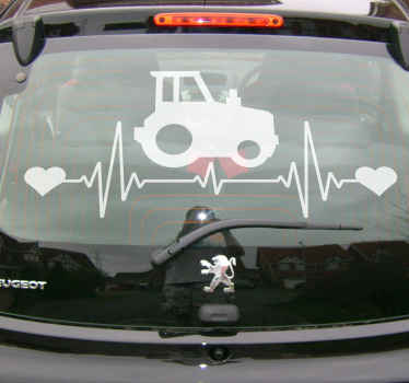 Tractor on heartbeat car sticker. The design is customizable in any other colour.  It is customizable and really easy to apply. Available in any size.
