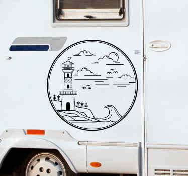 Nautical illustration sticker for caravan decoration. The deign  contains nautical objects and nature features. Easy to apply, original and durable.