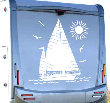Nautical sailing boat decal for vehicle. The design can be applied on a wall space in a house and on furniture and any flat surface of interest.