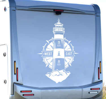 Lighthouse and compass motorhome sticker. Customize the colour in any one of the available colour to enjoy the design on your vehicle surface.