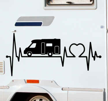Autocolante ilustrativo do cardiograma do veículo. O projeto contém um veículo se movendo ao longo de um cardiograma com formato de coração. A cor é personalizável.