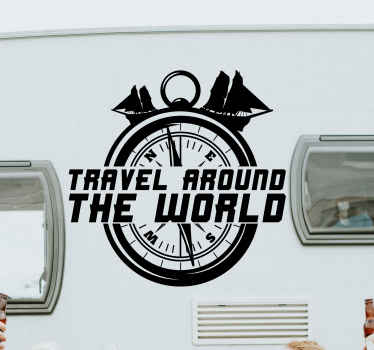 Decorative travel object decal for vehicle. It is a compass design with travel illustrations branded with text that reads 'Travel around the world.