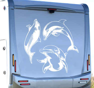Dolphin jumping silhouette motorhome sticker. This lovely design would fit nicely on any vehicle surface and it application is really easy.