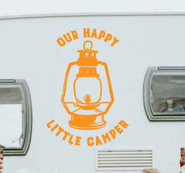Happy camper lantern decal for motorhome and other vehicle surface decoration. Lovely illustrative vehicle sticker to express your love for camping.