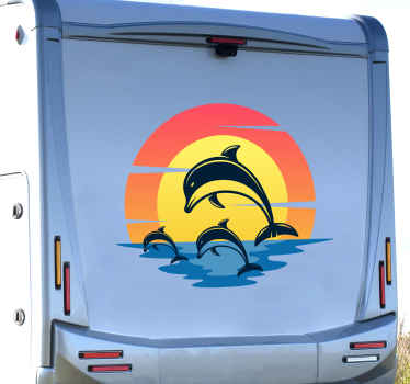 Dolphins at sunset motorhome sticker. This lovely design would fit nicely on any vehicle surface and it application is really easy.