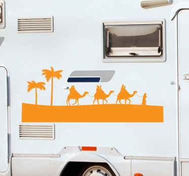 Decorate your motorhome or van with this desert Carmel animal decal. The design illustrates different camels mounted by desert travelers.