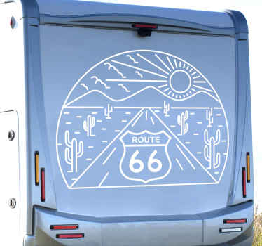 Decorative travel stamp for vehicle. The design contains route 66 sign with nature features. Original and easy to apply.