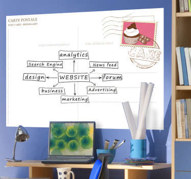 A creative whiteboard decal with the design of a common postcard. Decorate your room and brainstorm your ideas with this wall sticker.