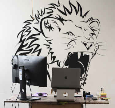 Wall Stickers - Original illustration of a roaring lion. Ideal to bring any room alive.