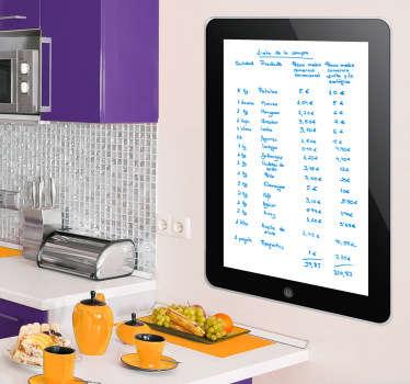 Autocolante de parede iPad em quadro branco