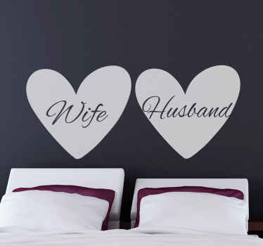 An amazing couple's love heart illustration decal to decorated any space of desire. The design is suitable for matrimonial bedroom or valentine decor.