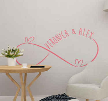 Husband and wife Infinity wedding sticker. Suitable for wedding venue decoration, living room, bedroom and other spaces of choice.