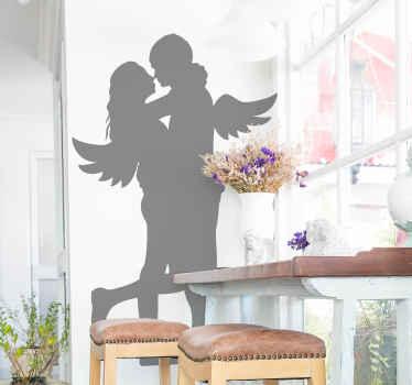 Decalcomania matrimonio angeli marito e moglie per decorare la casa o il luogo del matrimonio. La silhouette della decalcomania degli sposi è personalizzabile in un altro colore.