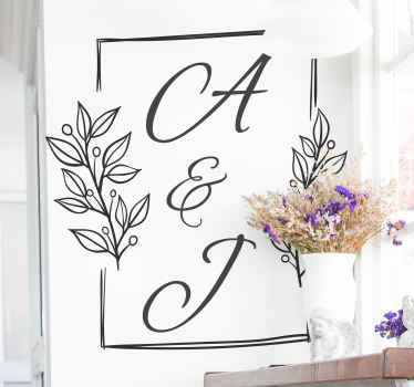 Our decorative personalized husband and wife initial wedding sticker can be decorated on wedding venue and couple's bedroom in the home.