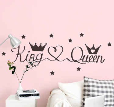 Decorate your bedroom space with this lovely illustration decal of wedded couple which illustrates a king and queen's crowns with heart shape.