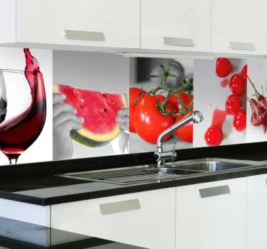 Rdeča hrana in pijača kuhinjska nalepka