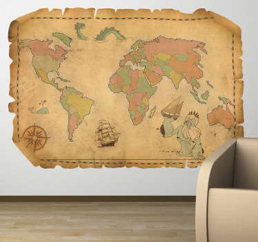 A vintage sticker illustrating an old world map ideal to decorate any space at home. This retro decal is suitable for all ages.