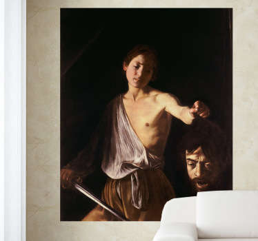 "Decorative wall sticker which represents a picture of the Italian Baroque painter Caravaggio titled "" David with the Head of Goliath ."""