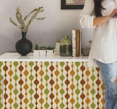 家庭やオフィススペースの家具の表面を覆う、オリジナルの装飾的な70年代のストライプフィギュア家具ステッカー。適用が簡単でオリジナル。