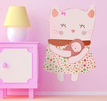 Bonito dibujo adhesivo de una madre felina con su gatito recién nacido.