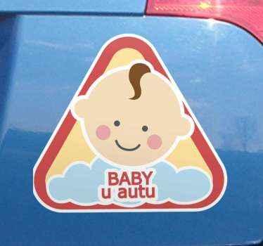 Naljepnica za personaliziranu bebu. Zaronite svoje vozilo sa svojim mališanom u njemu i dajte do znanja ostalim sudionicima u prometu važnu osobnost bebe koju prenosite.