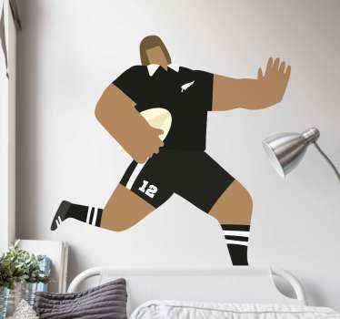 A design rugby sport decal illustrating a rugby cartoon players running. You would love this design especially as a fan or player of rugby sports.