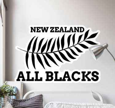 This Rugby Wall Mural Sticker with the flag of the New Zealand All Blacks rugby team is perfect for decorating any wall or smooth surface in your room