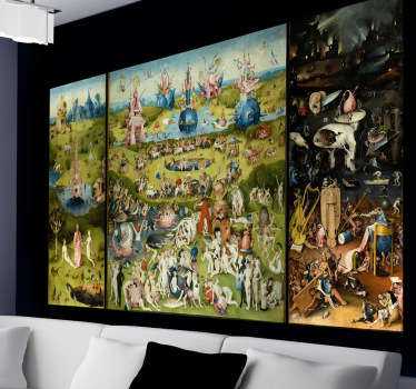 A artistic wall sticker of The Garden of Earthly Delights to decorate your walls at home. The painting decal is eye-catching and can be placed anywhere in your home!