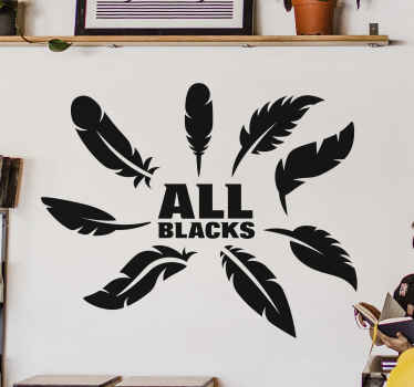 Illustrative all black rugby sport decal illustrated with multiple feathers and inscribed with the tag ''All black'.  The colour is customizable.