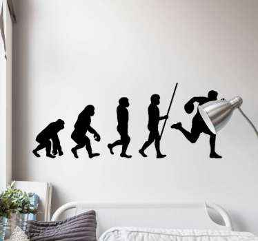 The rugby people silhouette sport wall decal design illustrating evolution of a rugby player from the primitive stage to professional stage.