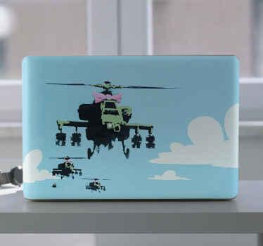 バンクシーヘリコプターラップトップスキンステッカーは、ラップトップの表面を飾ります。武器を落とすさまざまなヘリコプターのデザインイラスト。