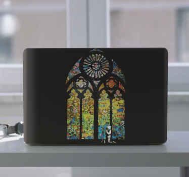 ノートパソコンのスキンステッカー用のステンドグラスバンクシーアート。あなたはあなたのラップトップのこのガラスの染みを気に入るでしょう、そしてそれは芸術的な外観でそれを美しくするでしょう。
