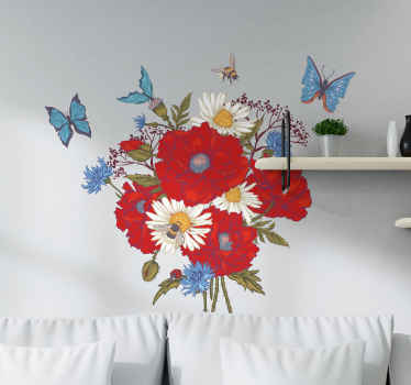 Poppies with butterflies flower wall sticker for living room decoration. The design is lovely and you would love it on your space.