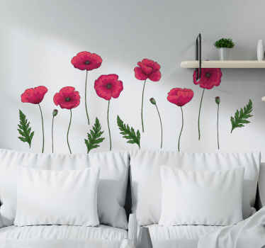 Set of poppies flower wall sticker for living room decoration. It is easy to apply and removable without any problem. Easy to apply and adhesive.