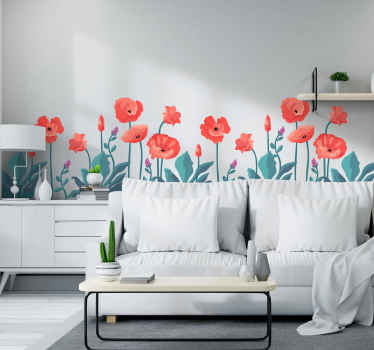 Beautify a living space or anywhere else with this hand drawn colorful poppies flowers with butterflies sticker.  It is original, durable and adhesive.