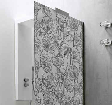 Lovely shower door sticker with design of poppies flowers. The colour is customizable and it is really easy to apply and it is durable.